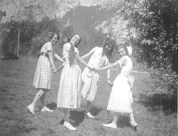 Grace with friends, including Virginia Best and Ellen Boysen, in the meadow